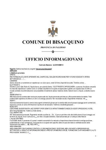 0894119dcc02 ufficio informagiovani - Comune di Bisacquino