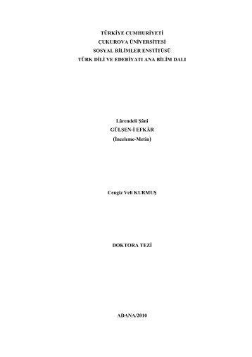 türkiye cumhuriyeti çukurova üniversitesi sosyal bilimler ... - Kütüphane