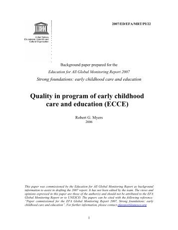Quality in program of early childhood care and ... - unesdoc - Unesco