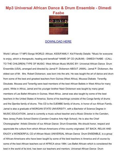 Mp3 Universal African Dance & Drum Ensemble - Dimedi Faabe