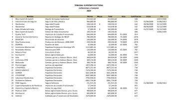 TRIBUNAL SUPREMO ELECTORAL Licitaciones y Compras 2009