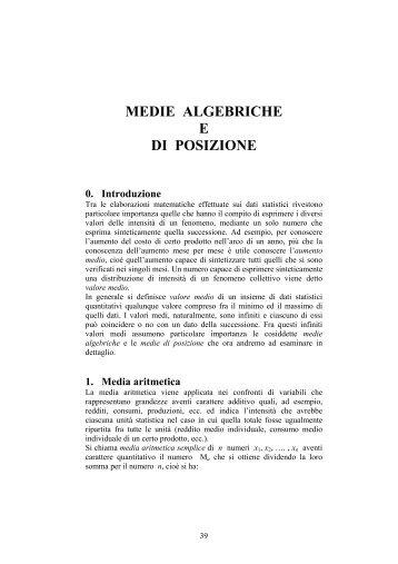 Medie algebriche e di posizione