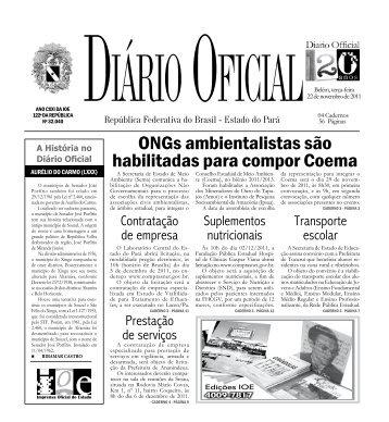 A História no Diário Oficial - Imprensa Oficial do Estado do Pará