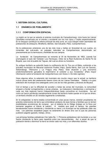 1. SISTEMA SOCIAL CULTURAL 1.1 DINÁMICA DE POBLAMIENTO ...