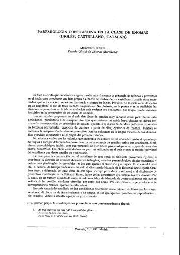 paremiologia contrastiva en la clase de idiomas (inglés ... - Paremia