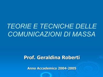 TEORIE E TECNICHE DELLE COMUNICAZIONI DI MASSA