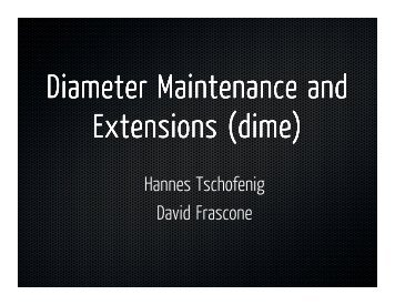 Diameter Maintenance and Extensions (dime) - IETF