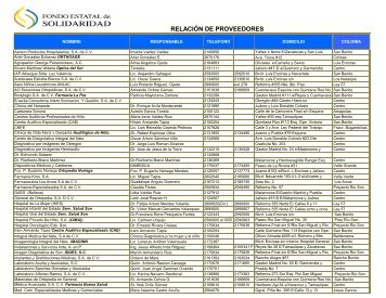 lista de proveedores - Gobierno del Estado de Sonora