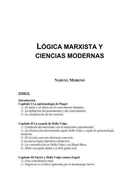 Lógica Marxista Y Ciencias Modernas Nahuel Moreno Lit Ci