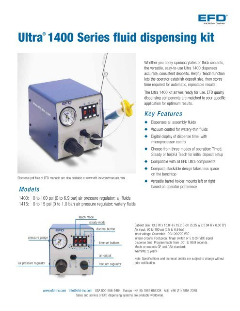 Ultra® 1400 Series fluid dispensing kit - Nordson EFD