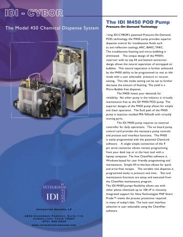 The Model 450 Chemical Dispense System The IDI M450 POD Pump