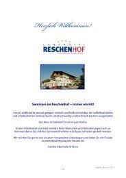 Seminar-Infomappe - Landhotel Reschenhof