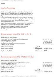 Kupfer-Zuschläge Berechnungsbeispiel für NYM- J 3x1,5 ... - elfa