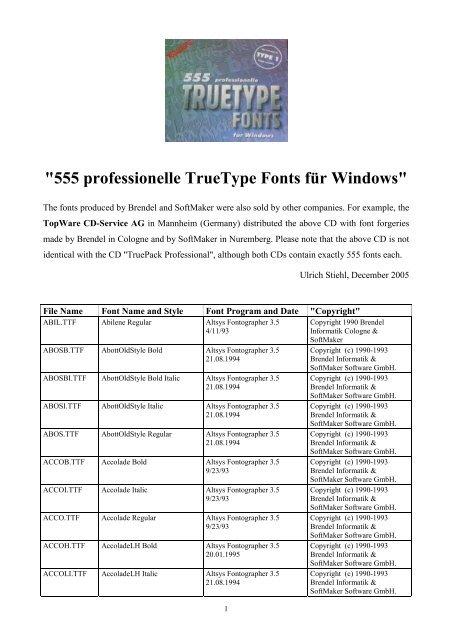 555 professionelle TrueType Fonts für Windows