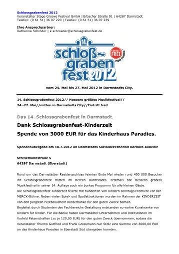 Dank Schlossgrabenfest-Kinderzeit Spende von 3000 EUR für das ...