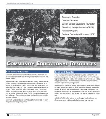 COMMUNITY EDUCATIONAL RESOURCES - Gavilan College