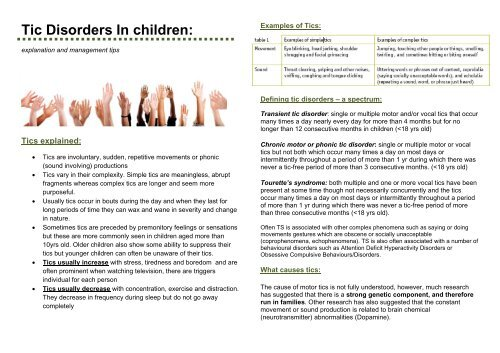 Tic Disorders In children: - NHS Networks