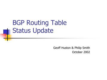 BGP Routing Table Status Update