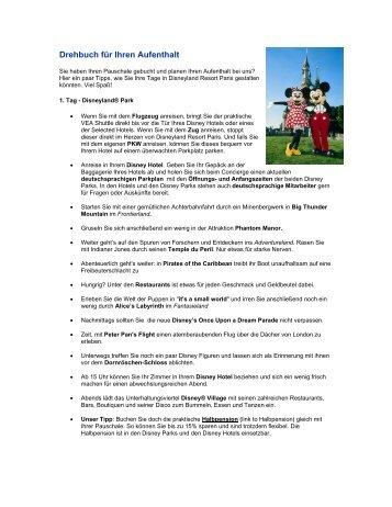 Drehbuch für Ihren Aufenthalt - Disneyland® Paris