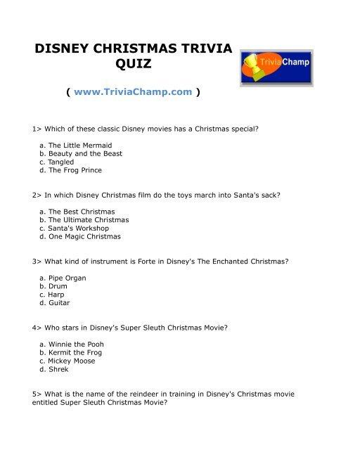 DISNEY CHRISTMAS TRIVIA QUIZ - Trivia Champ