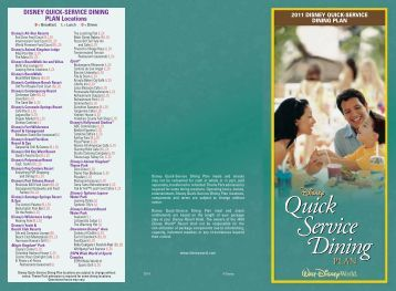 DISNEY QUICK-SERVICE DINING PLAN Locations - Walt Disney ...