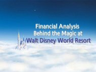 Financial Analysis Behind the Magic at Walt Disney World Resort