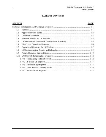 Table of contents section page - Defense Information Systems Agency