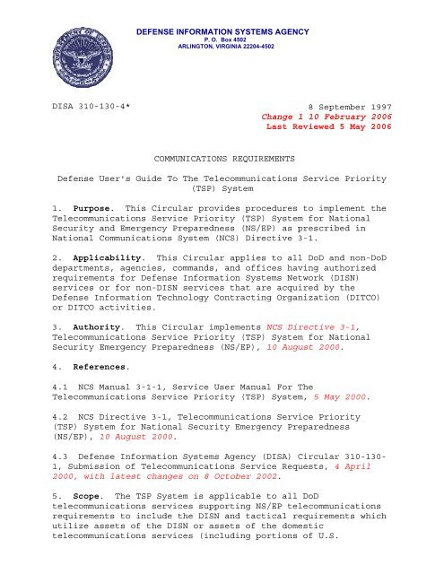 DISAC 310-130-4 Basic - Defense Information Systems Agency