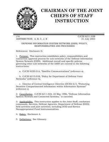 CJCSI 6211.02B, Defense Information System Network (DISN ...