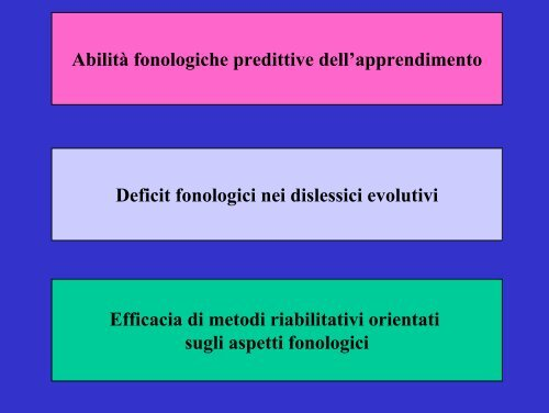 L'influenza dei fattori fonologici nella dislessia evolutiva