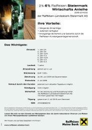 Ihre Vorteile: 6 % Raiffeisen Steiermark Wirtschafts Anleihe