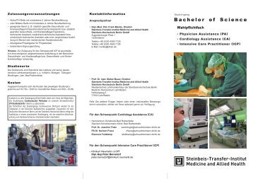 Flyer zum Studiengang Bachelor of Science