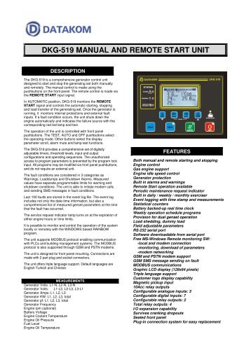 DKG-519 MANUAL AND REMOTE START UNIT - DATAKOM