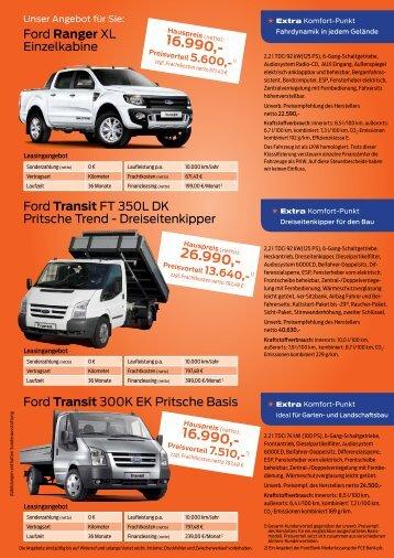 Ford Ranger XL Einzelkabine Ford Transit FT 350L DK Pritsche ...