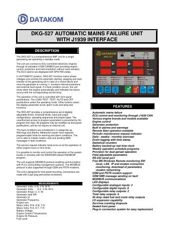 dkg-527 automatic mains failure unit with j1939 interface - DATAKOM