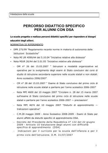 PERCORSO DIDATTICO SPECIFICO PER ALUNNI CON DSA