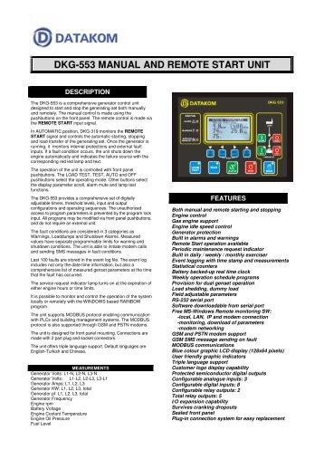 DKG-553 MANUAL AND REMOTE START UNIT - Datakom
