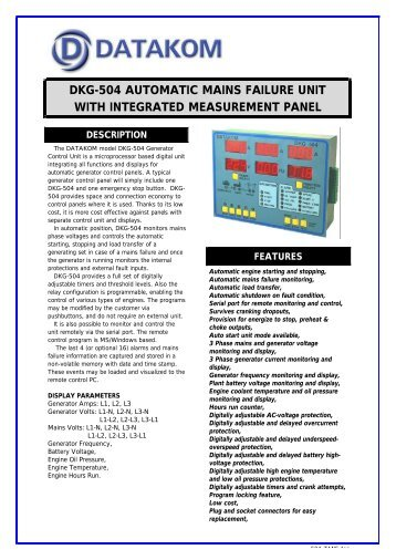 dkg-504 automatic mains failure unit with integrated ... - DATAKOM