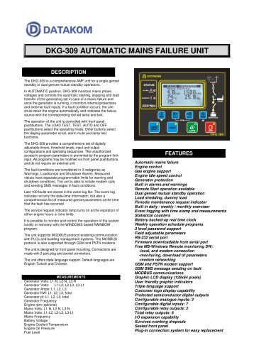 DKG-309 AUTOMATIC MAINS FAILURE UNIT - Datakom