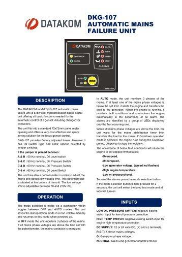 DKG-107 AUTOMATIC MAINS FAILURE UNIT - Datakom