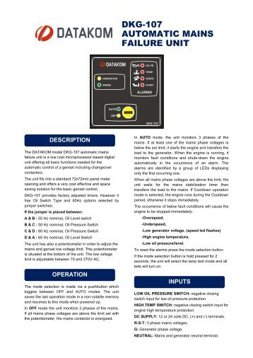 DKG-107 AUTOMATIC MAINS FAILURE UNIT - Datakom