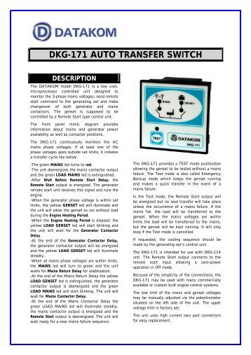 dkg-171 auto transfer switch description - DATAKOM