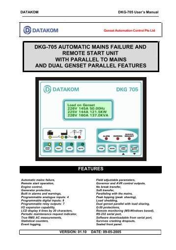 dkg-705 automatic mains failure and remote start unit with parallel to ...