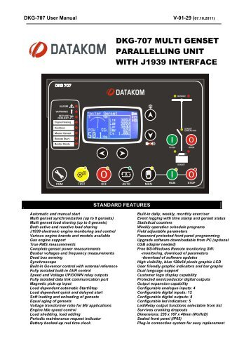 DKG-707 MULTI GENSET PARALLELLING UNIT WITH ... - Datakom