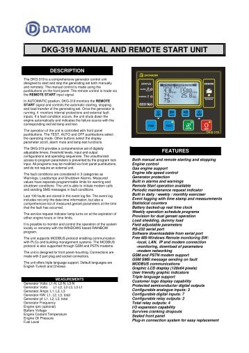 DKG-319 MANUAL AND REMOTE START UNIT - Datakom