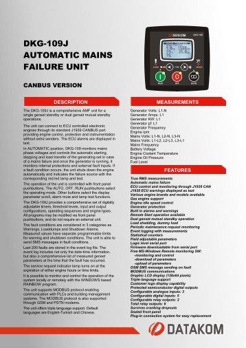 DKG-109J AUTOMATIC MAINS FAILURE UNIT - Datakom