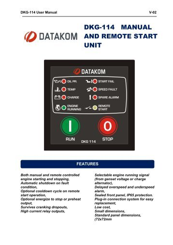 DKG-114 MANUAL AND REMOTE START UNIT - Datakom
