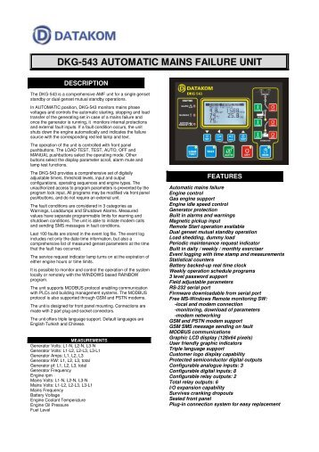 DKG-543 AUTOMATIC MAINS FAILURE UNIT - Datakom