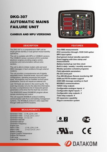 DKG-307 AUTOMATIC MAINS FAILURE UNIT - Datakom