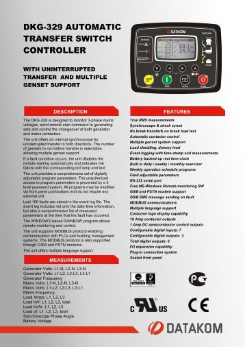 DKG-329 AUTOMATIC TRANSFER SWITCH ... - Datakom